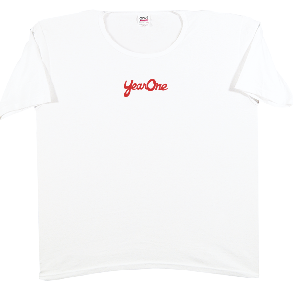 100% cotton Women's YearOne white scoop-neck T-shirt with the YearOne logo in red, X-large.