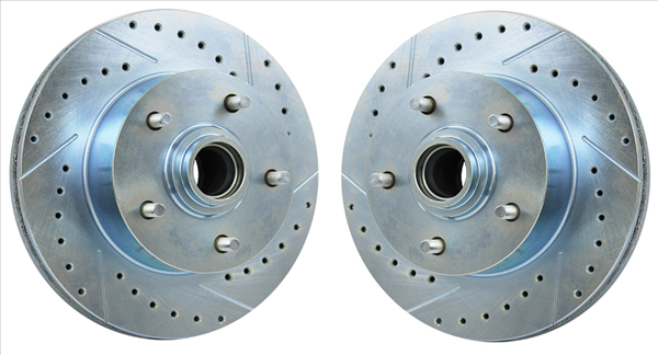 """1966-1969 B-body Cross Drilled and Slotted 11"""" rotor and hub with 4-piston calipers. Pair"""
