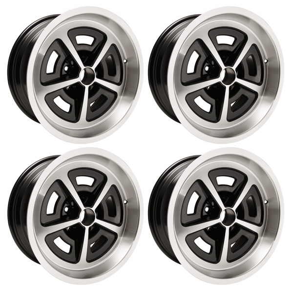 """Set of 4 17 X 8 cast aluminum Magnum wheel with 4.5 backspacing and 4.75"""" bolt pattern. Black powder coated with machined lip.  Must use lug nuts MRG1440"""
