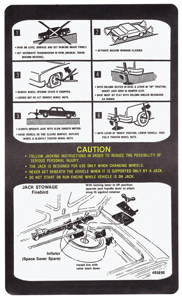 1978 1979 CHEVROLET CAMARO JACK INSTR DECAL SPACE SAV