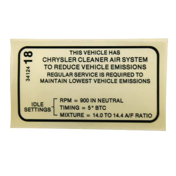 1970 340 4-bbl (early) and 1970 440 6-bbl (early) reproduction emission specifications decal.