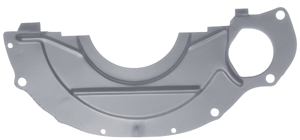 A/T dust shield, fits LA small-block models with an A 727 A/T, new Chrysler.