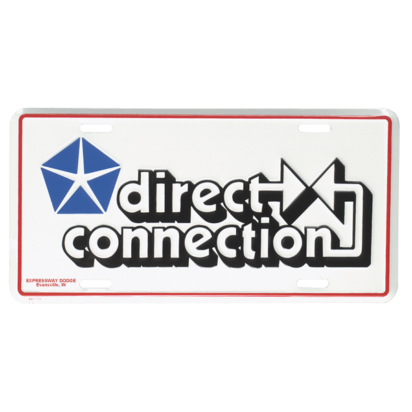 Direct Connection license plate, white background with Direct Connection and Pentastar logo in red, white, and blue.