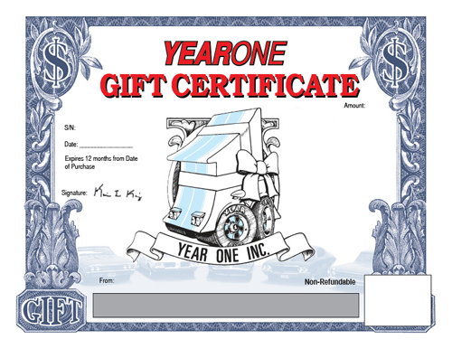 Year One gift certificate. $100.00 value.