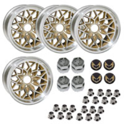 "<div>17"" X 9"" cast aluminum gold ""Snowflake"" wheel with 5-1/8"" Backspacing or +3mm Offset.Set of 4 with lug nuts & center caps with gold bird inserts.</div>"