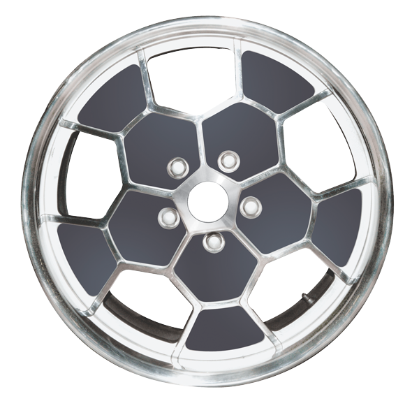 Honeycomb 19 x 12 billet aluminum wheel.