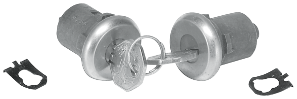 Door lock set for 1962-1966 models with early-style keys.
