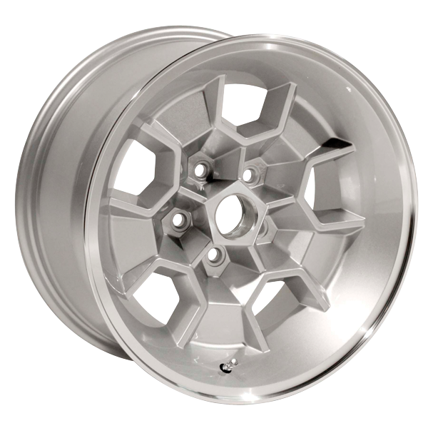 17 X 9 cast aluminum Honeycomb wheel with 5.125 backspacing. Silver powder coated with machined lip.  Must use MRG1440 lug nuts.