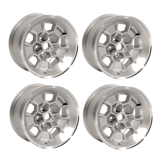 "Set of 4 17 X 9 cast aluminum Honeycomb wheel with 5-1/8"" Backspacing or +3mm Offset. Silver powder coated with machined lip. Must use MRG1440 lug nuts."