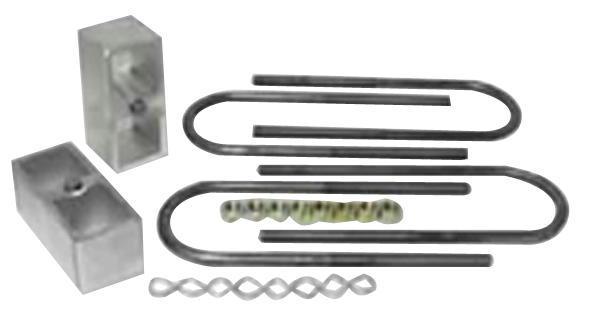 """Aftermarket 2"""" Tall lowering blocks x 2.25"""" Wide with U-bolts for 3"""" Diameter Axle Tubes and hardware."""