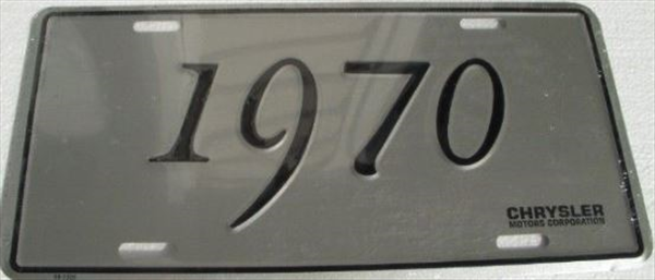 Chrysler license plate, 1970 Chrysler models, reproduction.