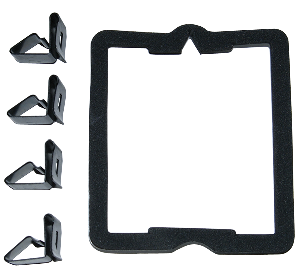 Bulkhead connector gasket and clip set for 1965-1970 Mopar A-and B body models.