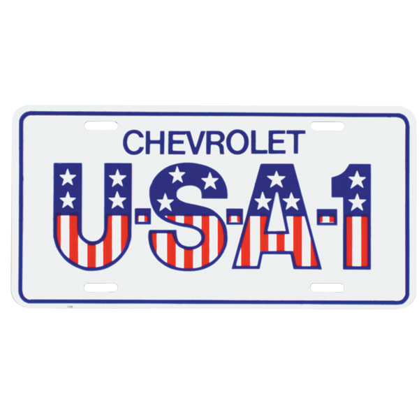 USA No. 1 stamped-aluminum license plate.