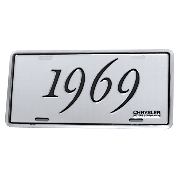 Chrysler license plate, 1969 Chrysler models, reproduction.