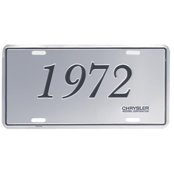 Chrysler license plate, 1972 Chrysler models, reproduction.