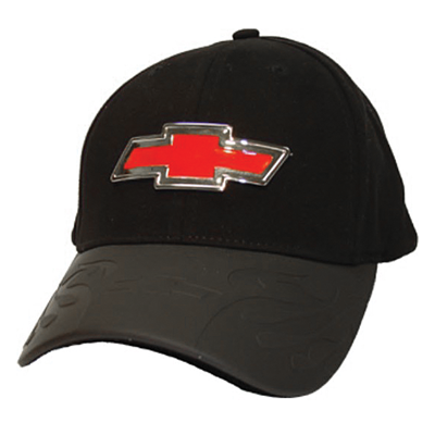 Bow Tie black cap with die-cast metal Bow Tie emblem with red insert.