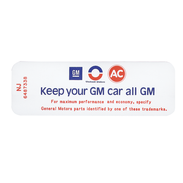 1971 Cutlass Ram Air Keep Your GM Car All GM  Air Cleaner Decal. NJ  6487338
