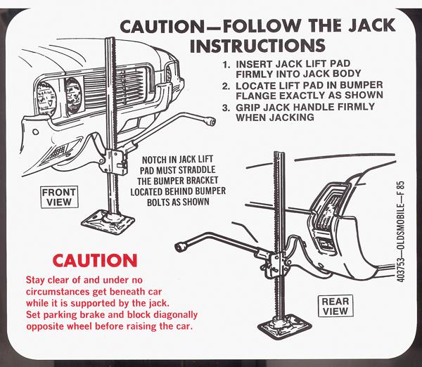 1969 models jack instructions decal.