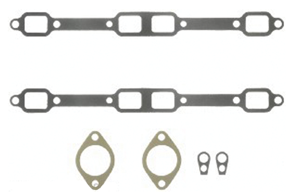 Exhaust manifold gaskets, fits all B/RB engines except Hemi, aftermarket.