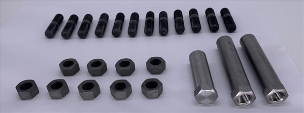 Reproduction exhaust manifold hardware kit for 1968-1974 big block models, except 1968-1969 A-body models.