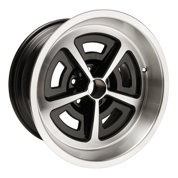 "17 X 9 cast aluminum Magnum wheel with 5-1/8"" Backspacing or +3mm Offset and 4.5 bolt pattern. Black powder coated with machined lip."