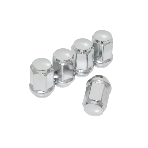 1/2-20 thread pitch, chrome lug nuts, set of 5. Right hand threads.