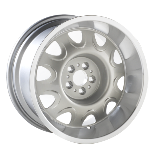 """17 X 9 cast aluminum Mopar Rallye wheel with 5"""" Backspacing or Zero Offset and 4.5 bolt pattern. Silver powder coated with machined lip."""