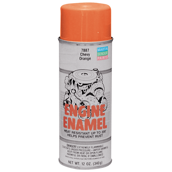 Chevy orange engine paint, for use on Chevy engines to 1977. 12-oz. spray can.