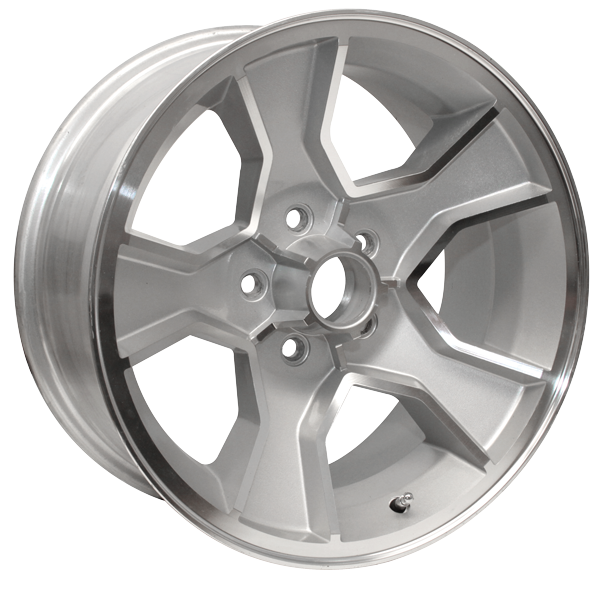 "17 X 8 cast aluminum N90 wheel with 4-1/4"" Backspacing or -6mm Offset.  Silver powder coated with machined lip."