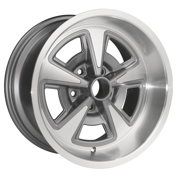 "17 X 9 cast aluminum Rally II wheel with 5"" Backspacing or +3mm Offset. Gunmetal gray powder coated with machined lip."