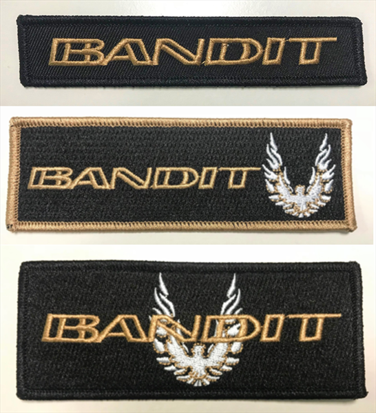 Black patch kit with all 3 Bandit patches with GOLD embroidered BANDIT logo.  The perfect patch for you garage jacket or bag.