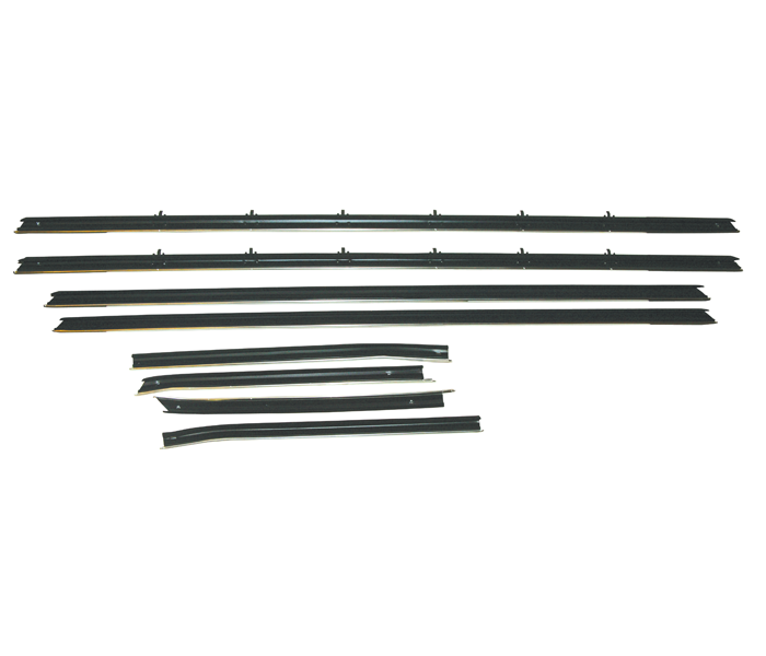 Standard Side Glass Sealing Weatherstripping, Complete Kit, 1968 Coupe  Models With Standard Or