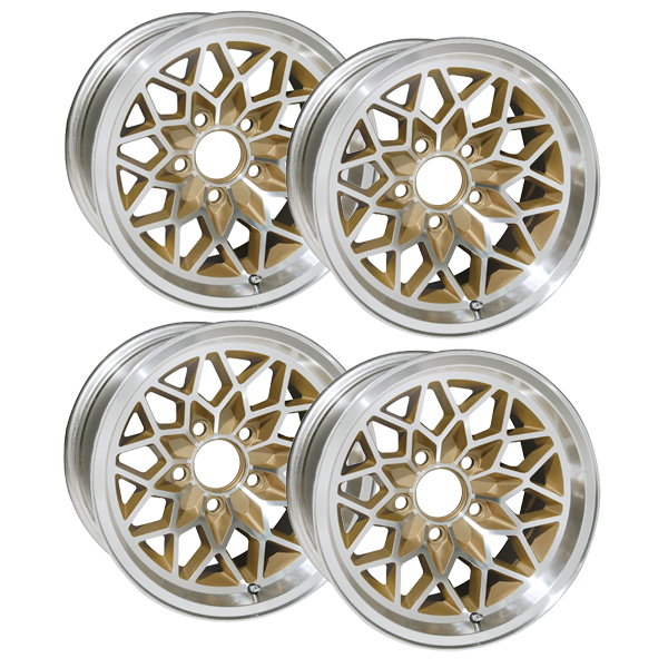 "15 X 8 cast aluminum Snowflake wheel with gold inserts set of 4, 4-1/2"" Backspacing or Zero Offset.. Must order QJ39S for lug nuts. 71 mm center bore"