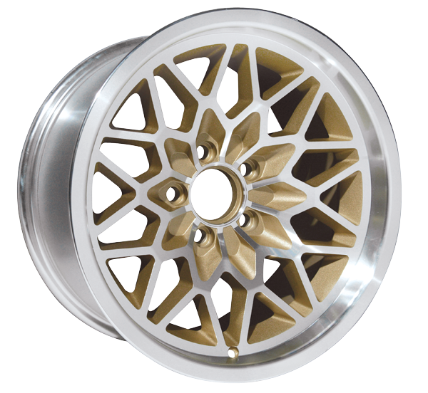 """This is our new 2nd version 17 x 9 cast aluminum gold Snowflake wheel. Featuring smooth gold painted recesses and a gloss clear coat finish. 5-1/8"""" Backspacing or +3mm Offset.  Wheel weighs 25 pounds with a load rating of 1900 pounds.  Must be used with t"""