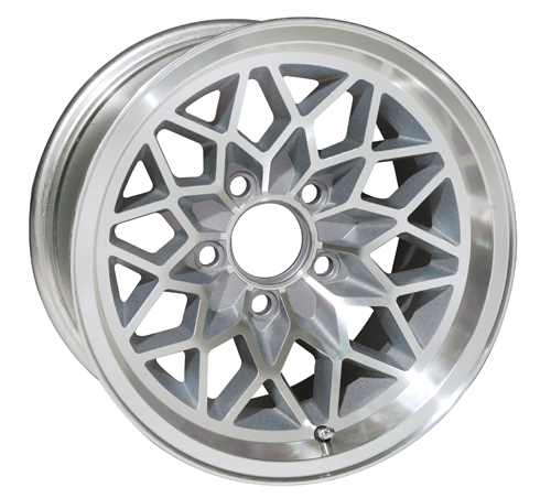 "This is our new 2nd version 17 x 9 cast aluminum SILVER Snowflake wheel. Featuring smooth SILVER painted recesses and a gloss clear coat finish. 5-1/8"" Backspacing or +3mm Offset. Wheel weighs 25 pounds with a load rating of 1900 pounds. Must be used with the followi"