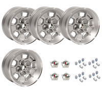 17 X 9 cast aluminum Honeycomb wheel with 5.125 backspacing. Set of 4 with 7/16 lug nuts and center caps.