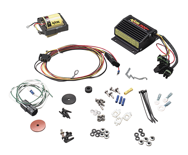Accel 300+ ignition system fits GM HEI and cap-in-coil distributors with red and white coil wire leads.