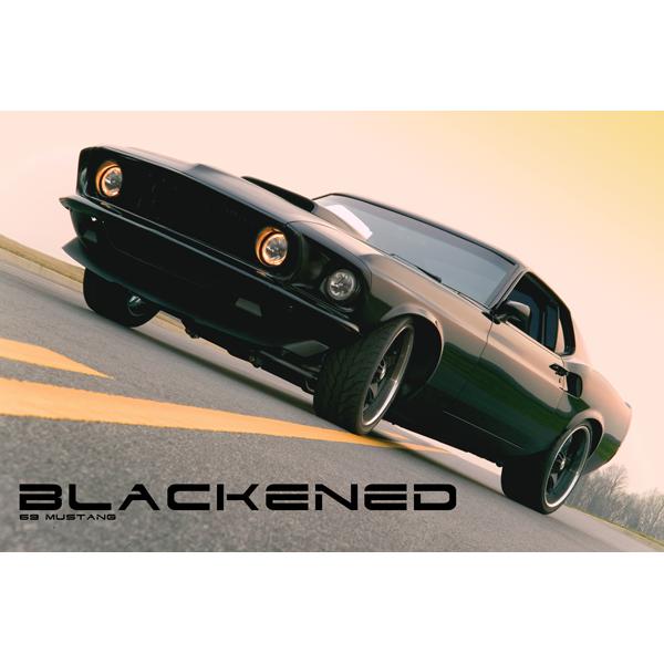 Blackened 1969 Mustang Mach I poster.