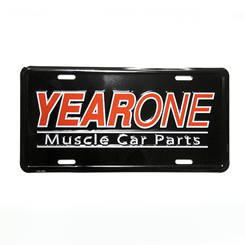 YearOne Muscle Car Parts license plate. Black background with Red and White embossed letters.