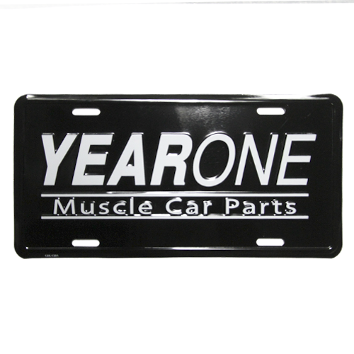 YearOne Muscle Car Parts license plate. Black background with white embossed letters.