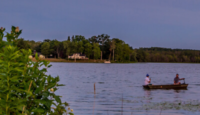 Fishing Boat in Water at Bass Lake Preserve