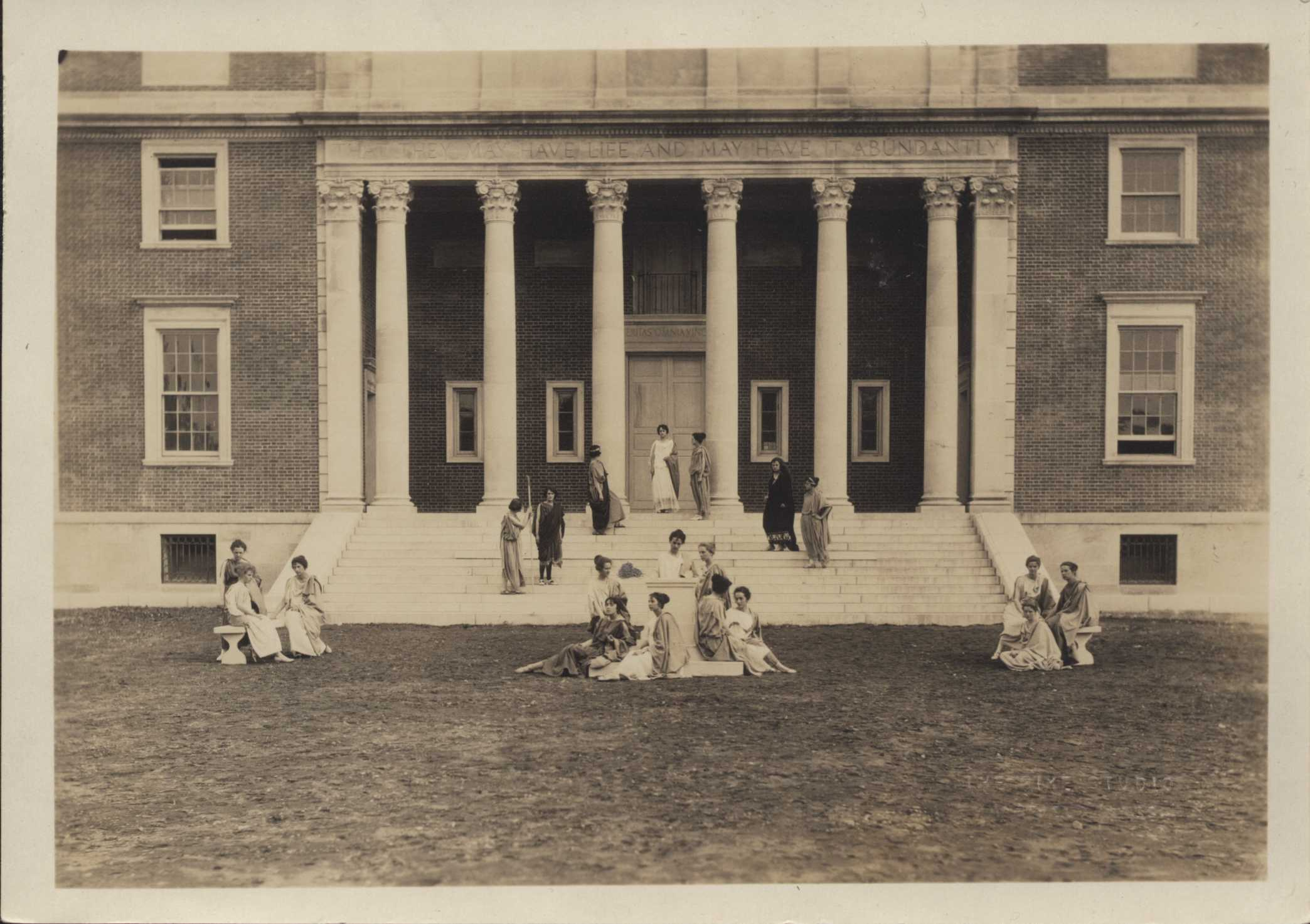 Students staging a play on the library steps, May Day, 1923