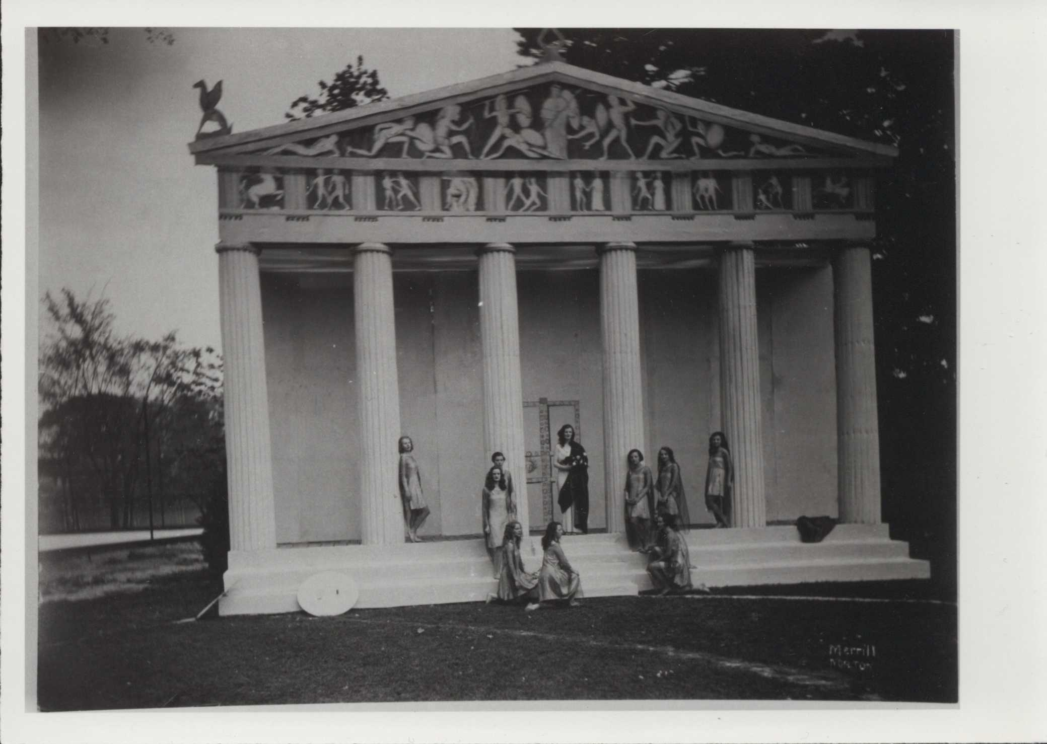 Students staging a play for the annual May Day Celebration, 1931