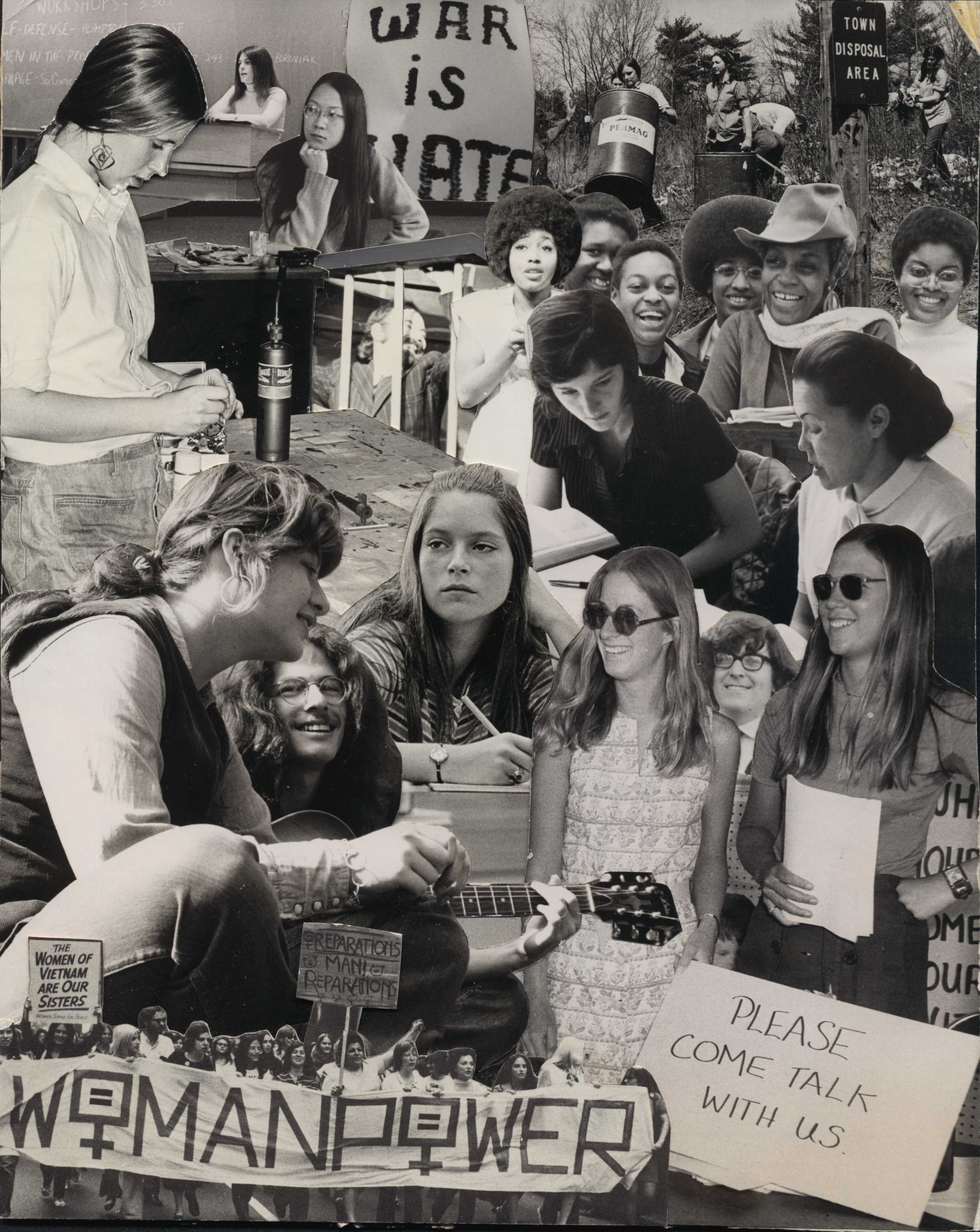 Collage of Wheaton Students Protesting the Vietnam War