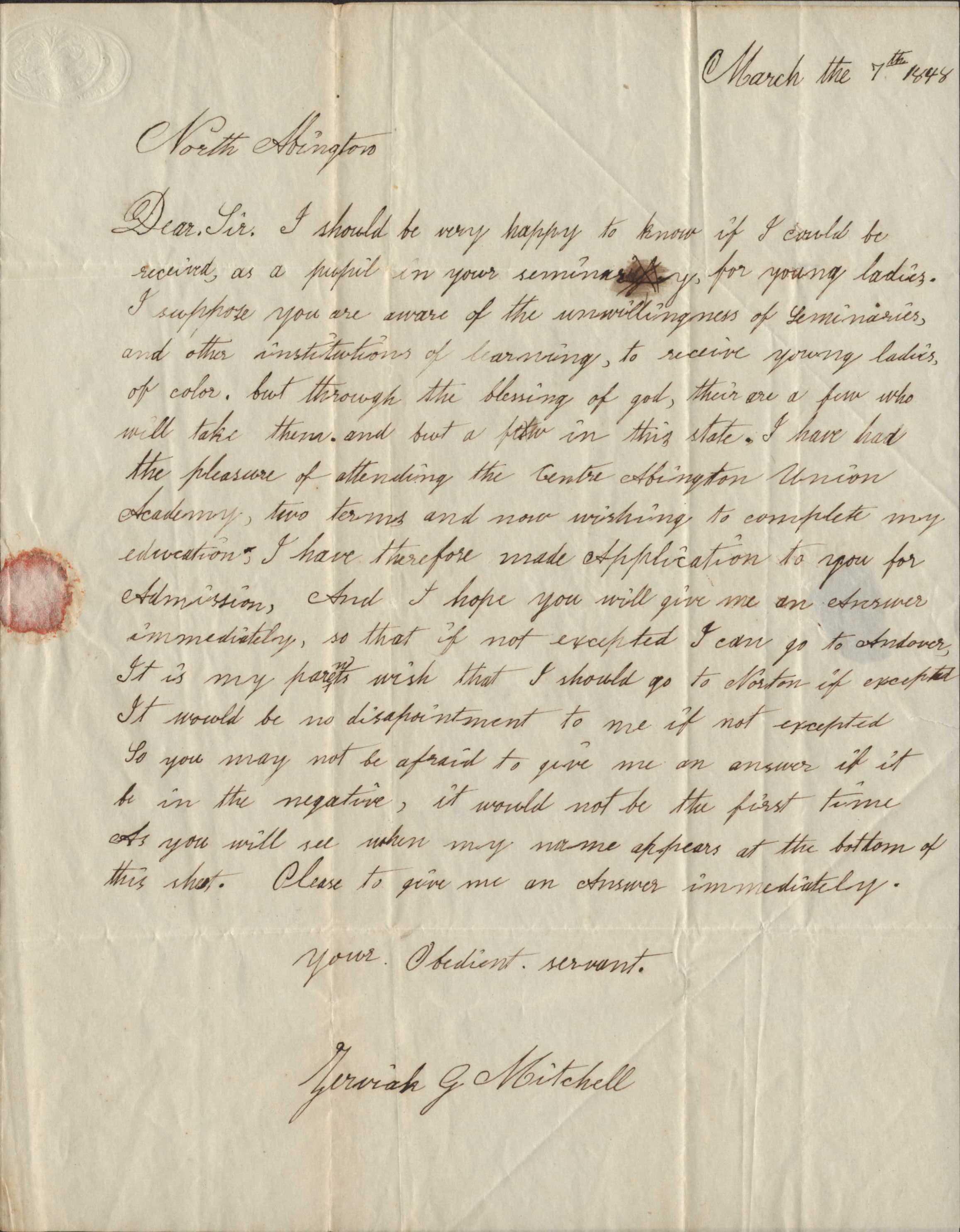 Zerviah Mitchell's Application to Wheaton Female Seminary (Recto)