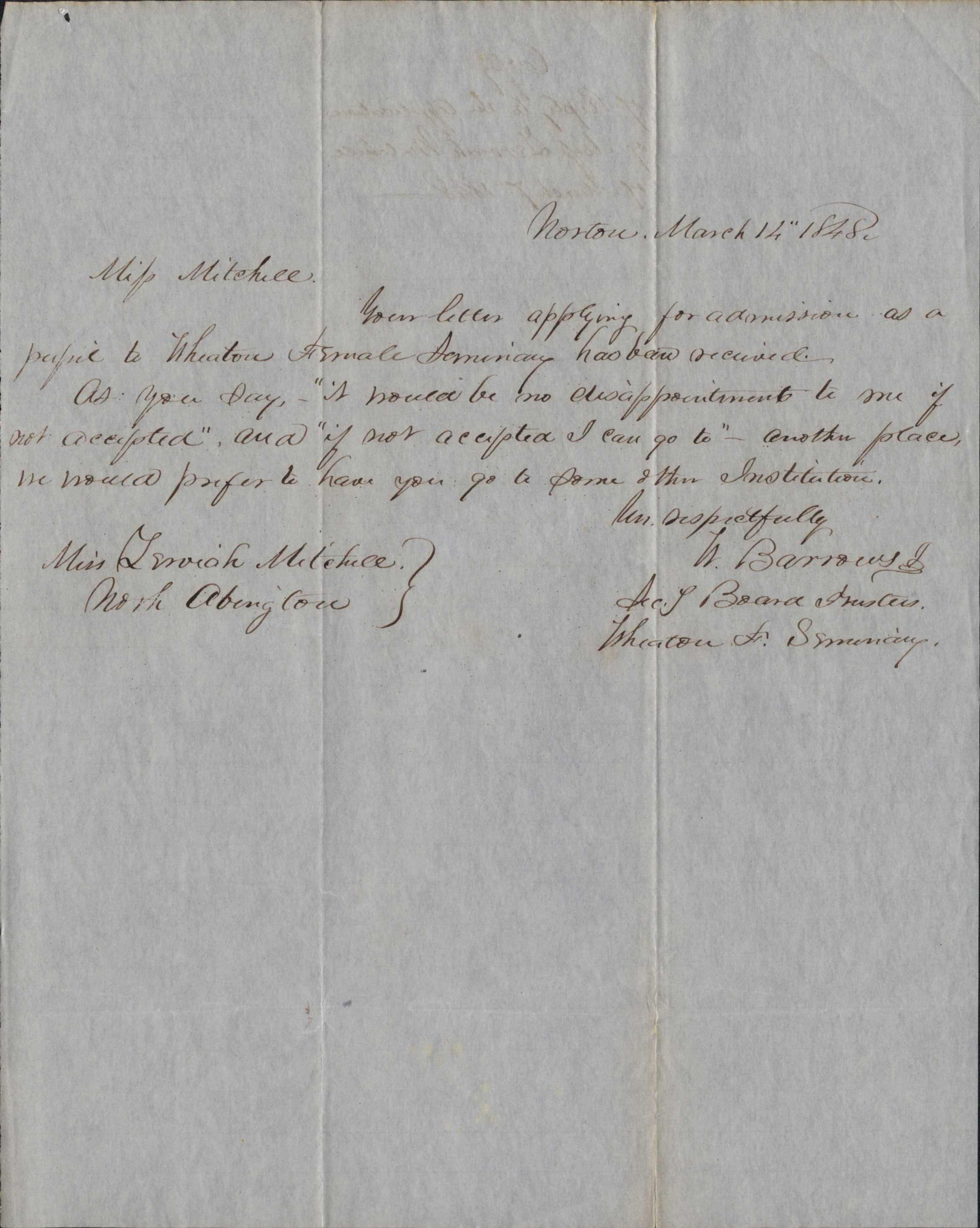 Wheaton Female Seminary Replies to Zerviah Mitchell Robinson