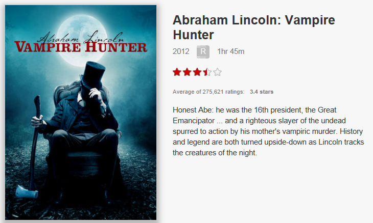 On Netflix Now: Abraham Lincoln Vampire Hunter