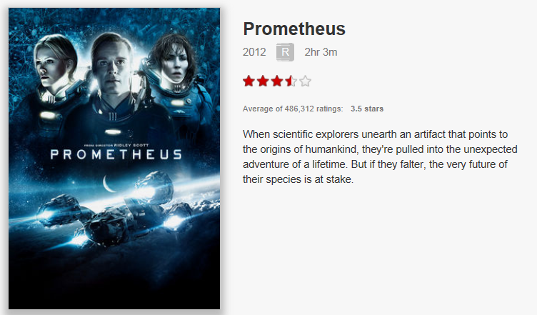 On Netflix Canada: Prometheus