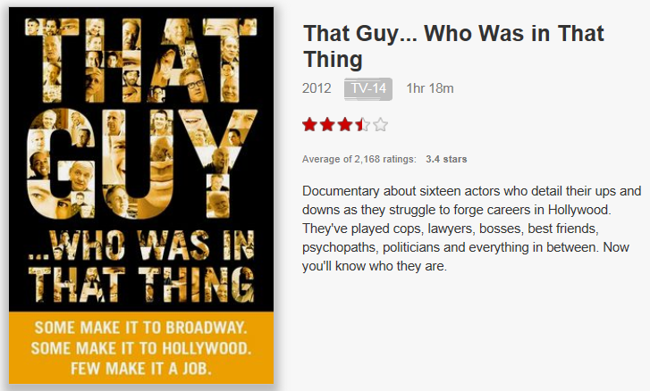 On Netflix Canada: That Guy... Who Was in That Thing