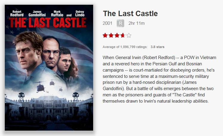 On Netflix Canada: The Last Castle